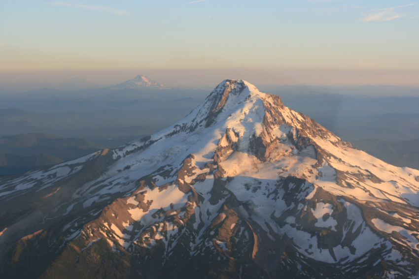 North face of Mt. Hood with Mt. Jefferson in the Background