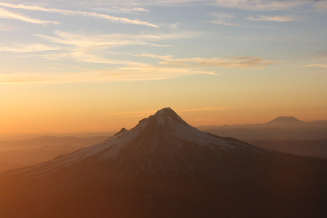 Southeast Face of Mt. Hood with Mt. St. Helens in the Background