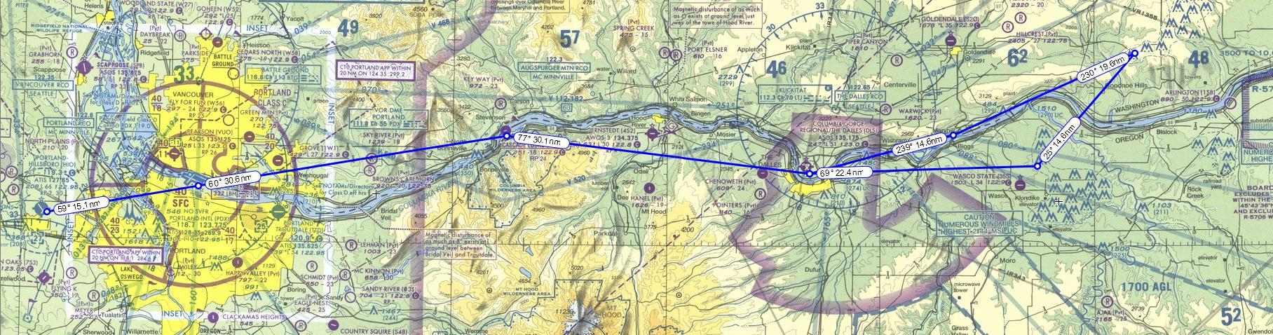 Our course for the flight